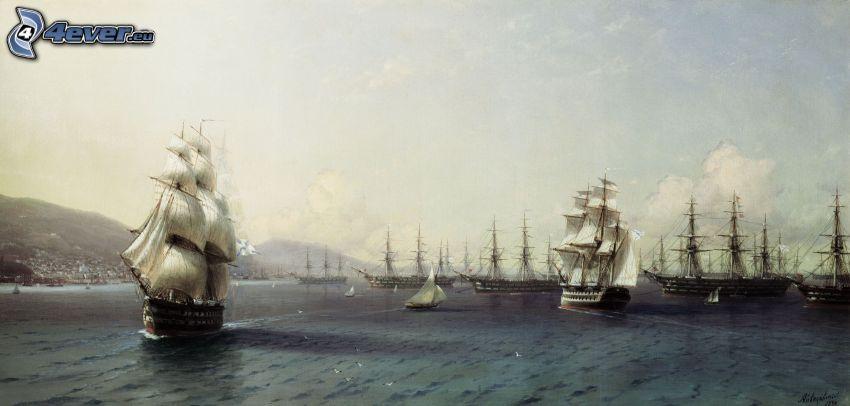 sailboats, sea