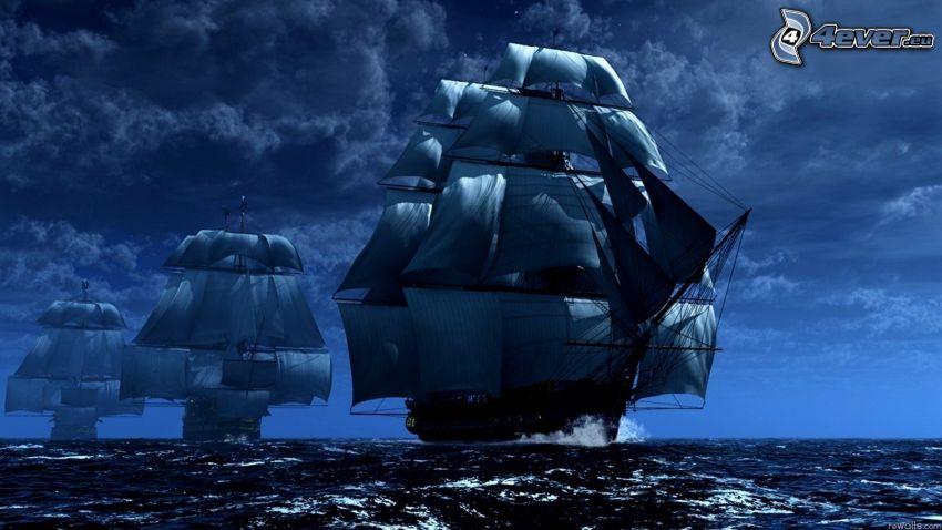 sailboats, ships, sea, clouds