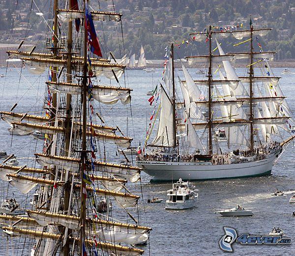 sailboats, ships