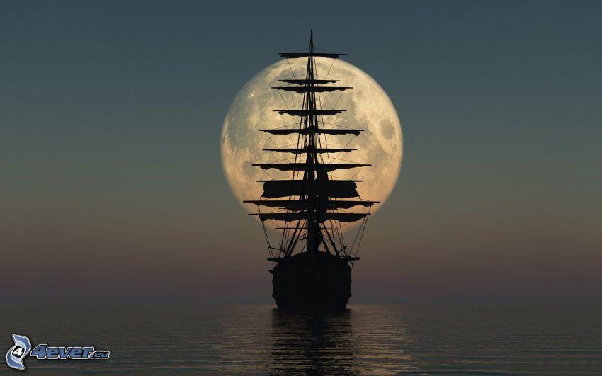 sailing boat, Moon, sea, silhouette