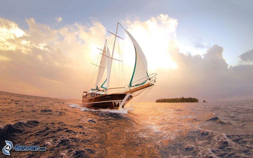 sailing boat, sea, clouds