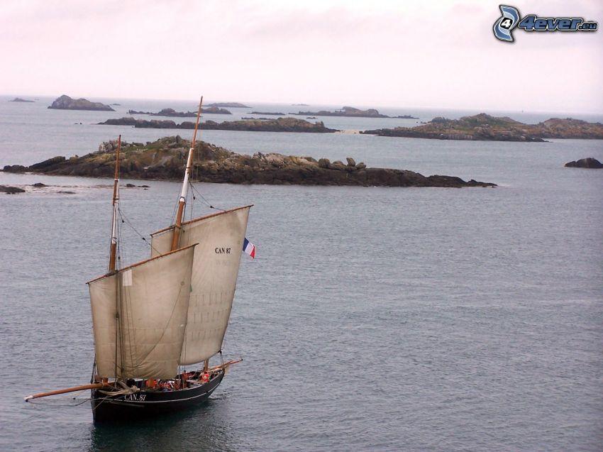 sailing boat, sea, islands