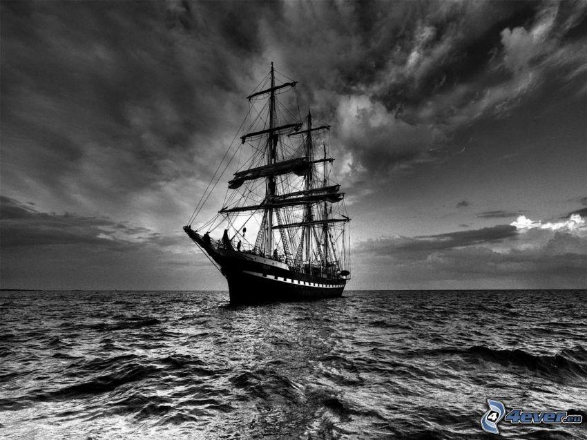 sailing boat, sea, sky, black and white photo