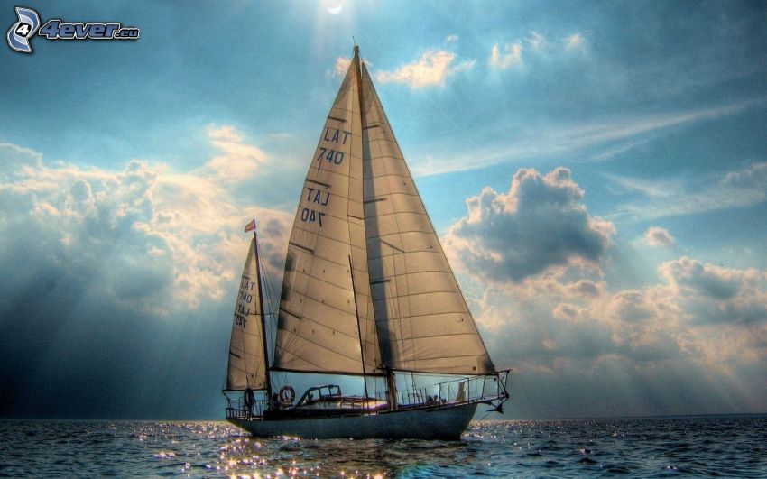 sailing boat, sea, sunbeams