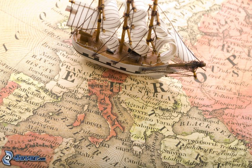 sailing boat, ship, historical map