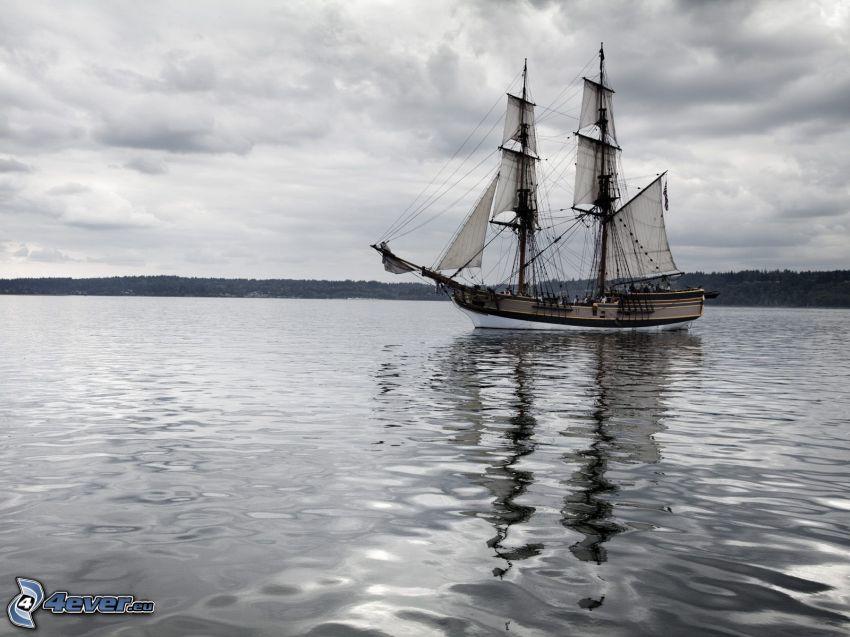 sailing boat, ship, sea, clouds