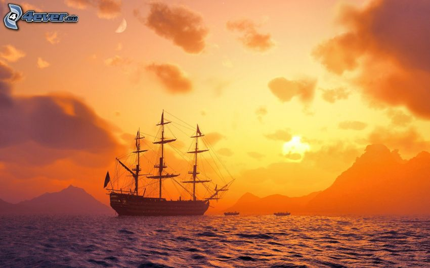 sailing boat, ship, sea, mountain, orange sunset