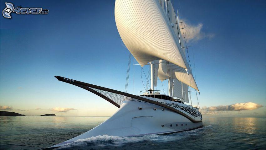 sailing boat, ship, sea