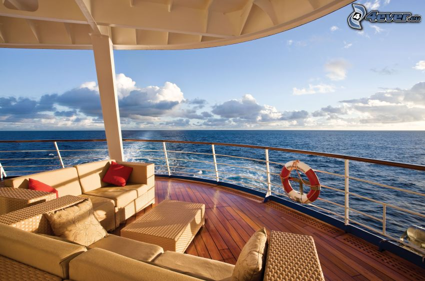 ship, couch, open sea, clouds