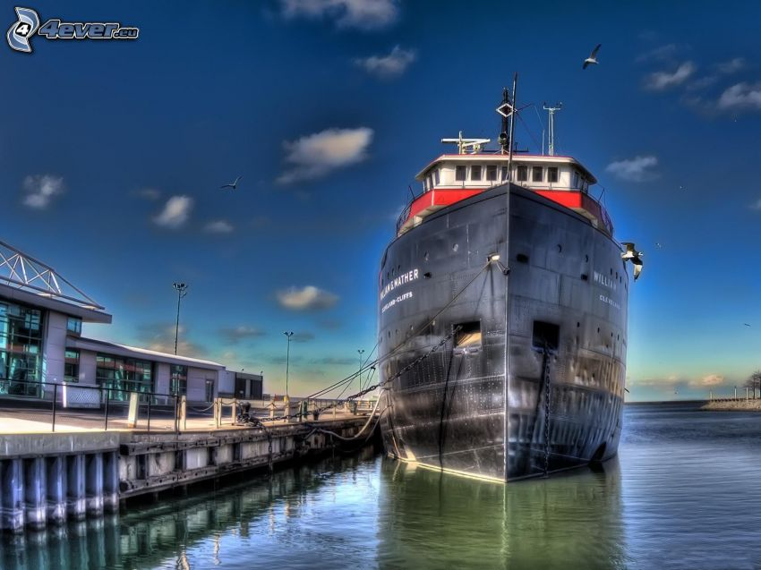 ship, harbor, HDR