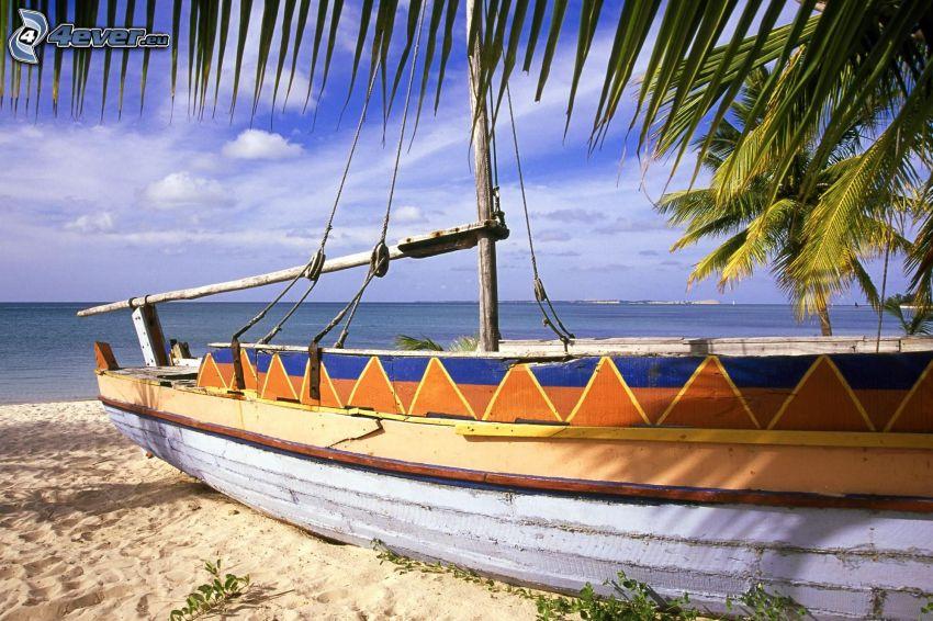 ship, sandy beach