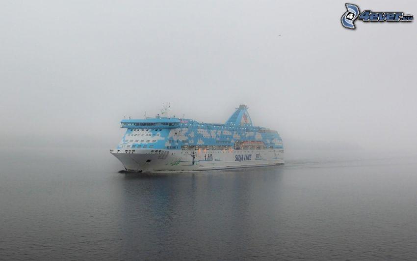 ship, sea, fog