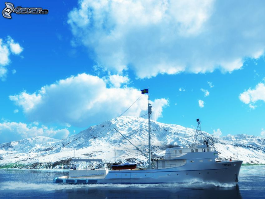 ship, snowy mountains, clouds