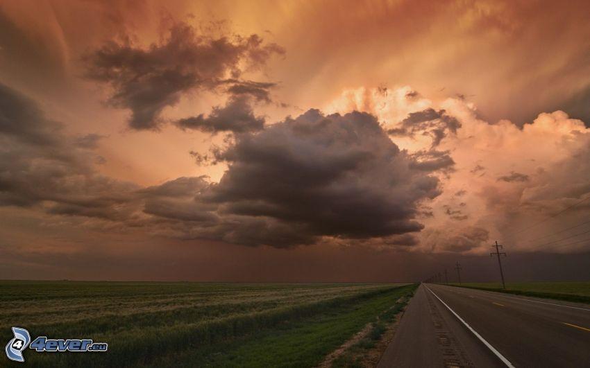 straight way, field, sky, clouds