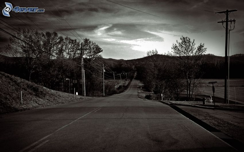straight way, mountain, power lines