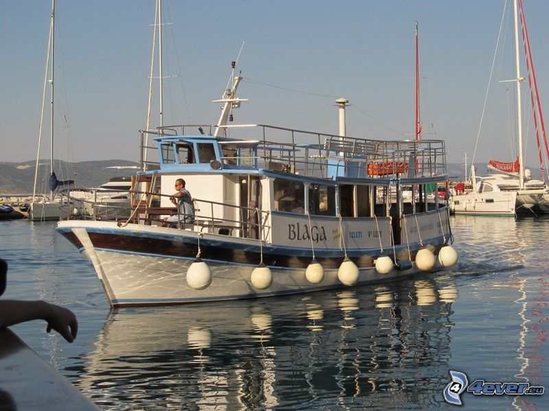 tourist boat, harbor, water