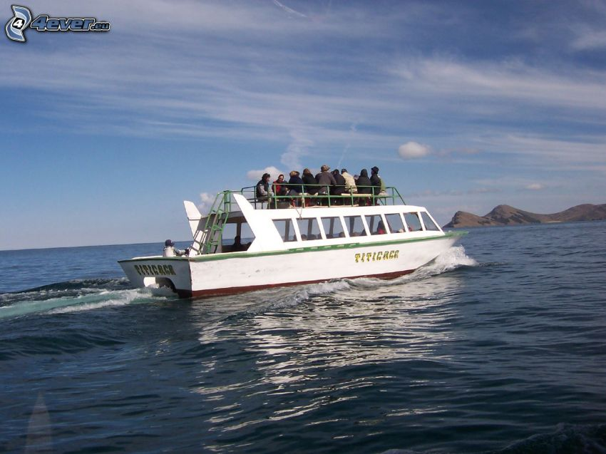 tourist boat, open sea