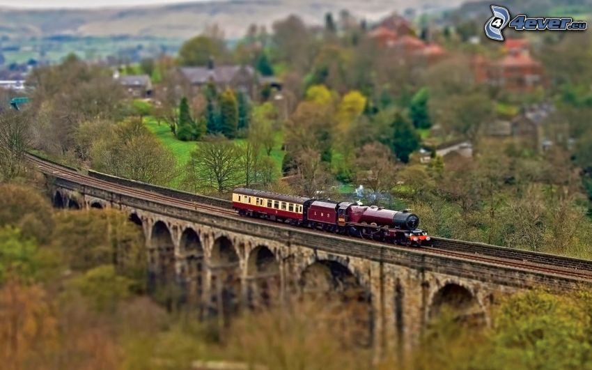 train, railway bridge, diorama