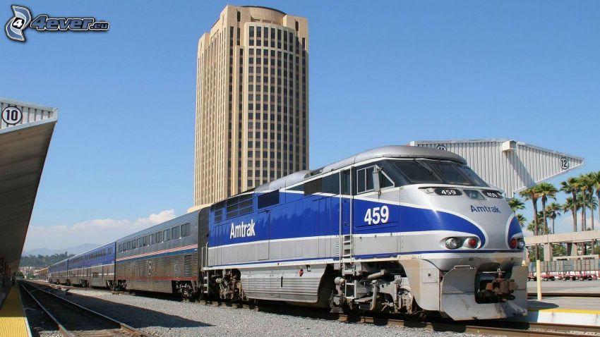 Amtrak, train, railway station, skyscraper