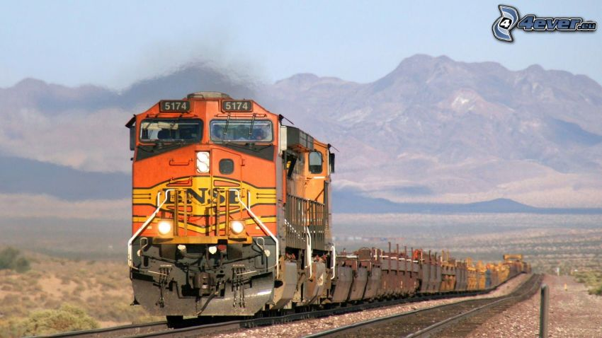 freight train, BNSF, mountain