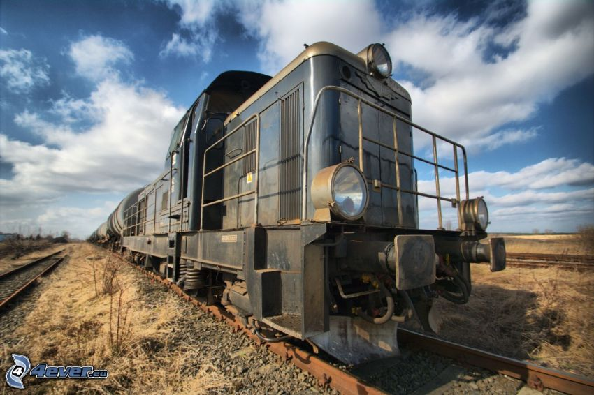 freight train, clouds, HDR
