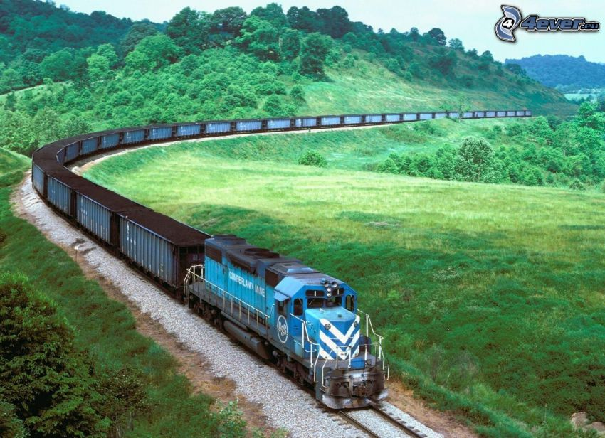 freight train, hill, greenery