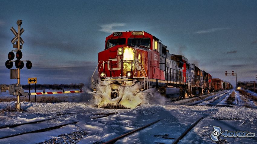 freight train, rail crossing, snow, HDR