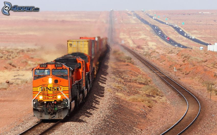 freight train, rails, highway, USA