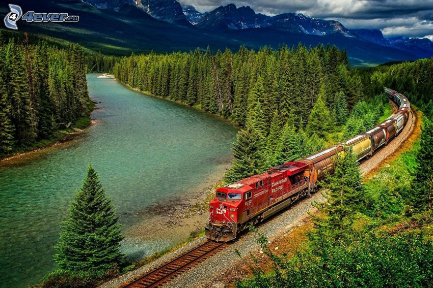 freight train, rocky mountains, River, forest, HDR