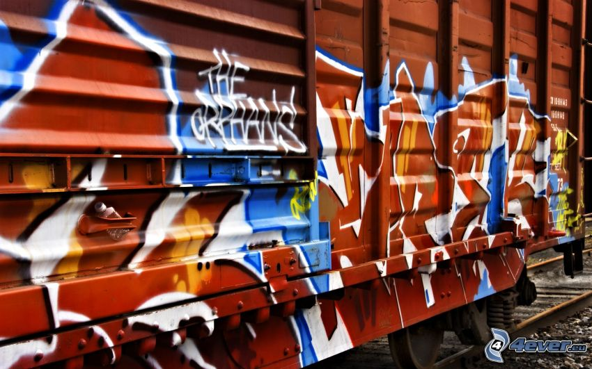 graffiti, rail car