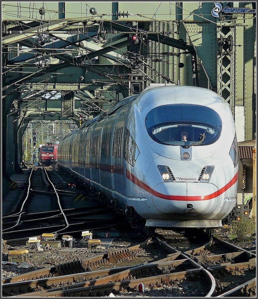 ICE 3, high speed train, rails, railway bridge