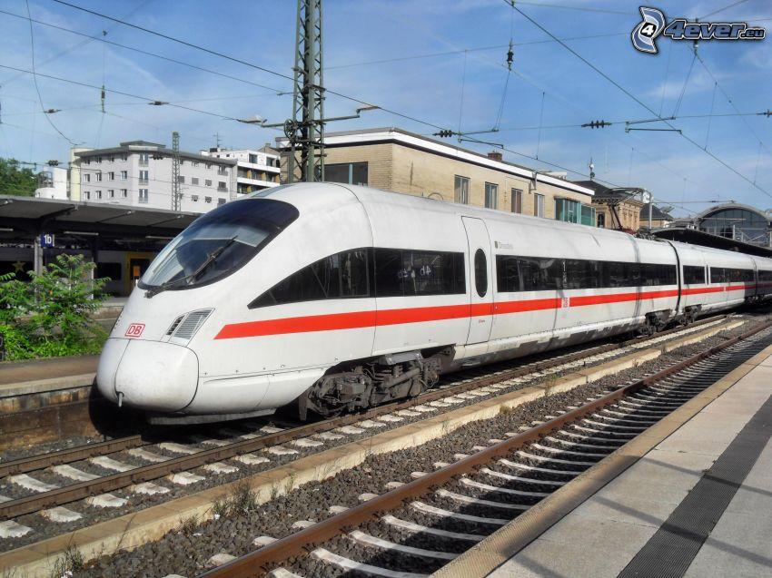 ICE 3, high speed train, railway station, rails