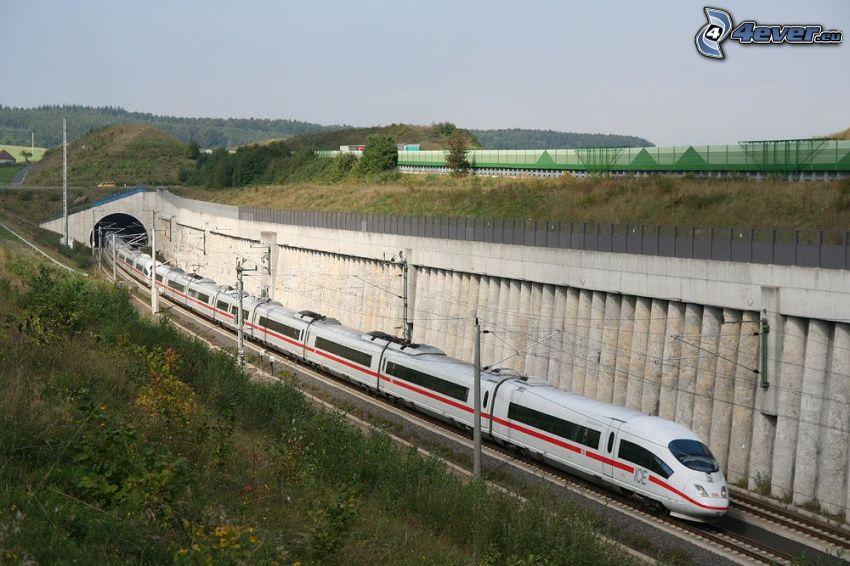 ICE 3, high speed train, railway tunnel