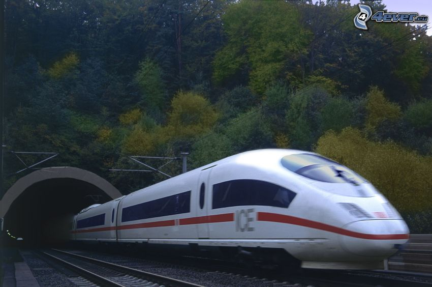 ICE 3, rails, high speed train, railway tunnel