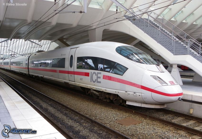 ICE 3, railway station, high speed train, rails