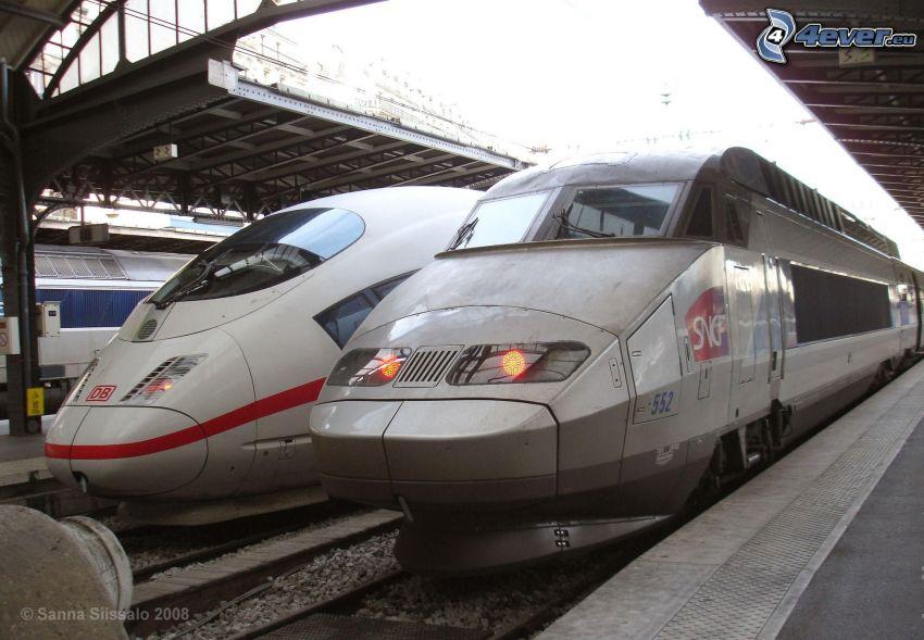 ICE 3, TGV, railway station, high speed train