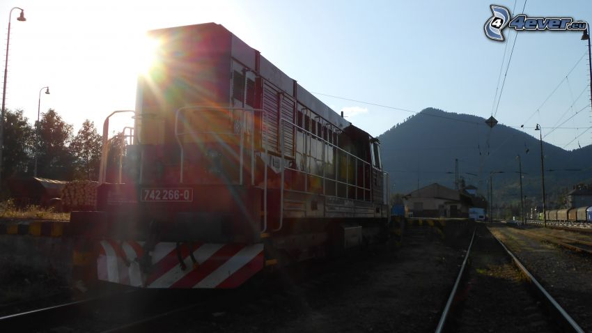 locomotive, rails, sun