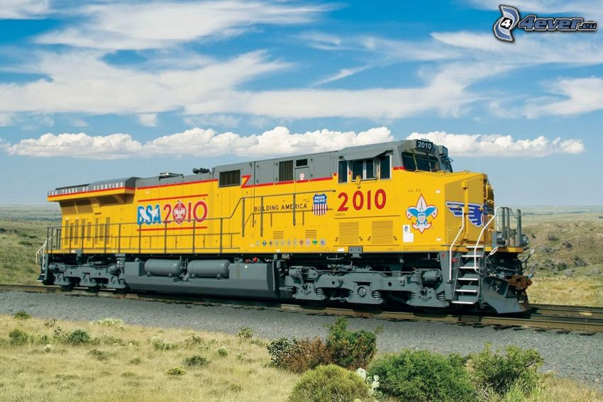 locomotive, Union Pacific, clouds