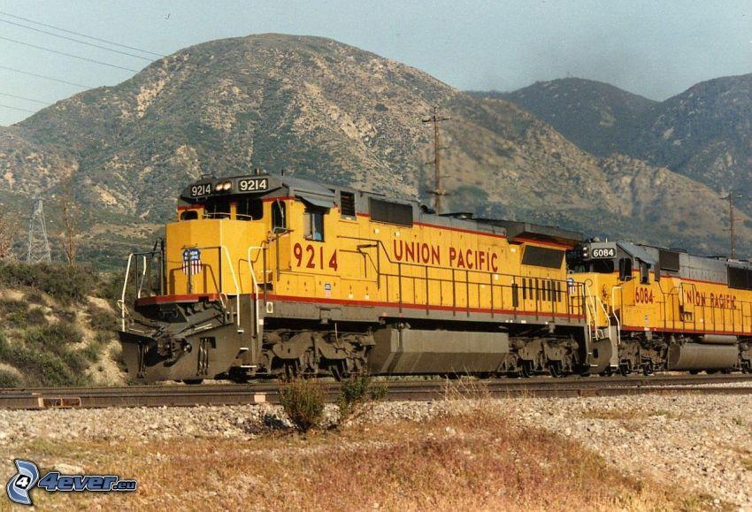 locomotive, Union Pacific, hills