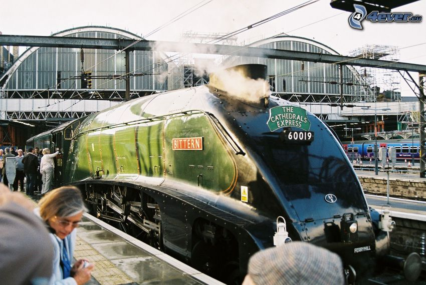 Mallard, steam train, railway station