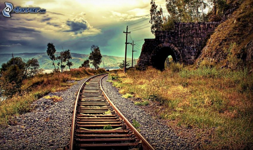 old rails, tunnel, HDR