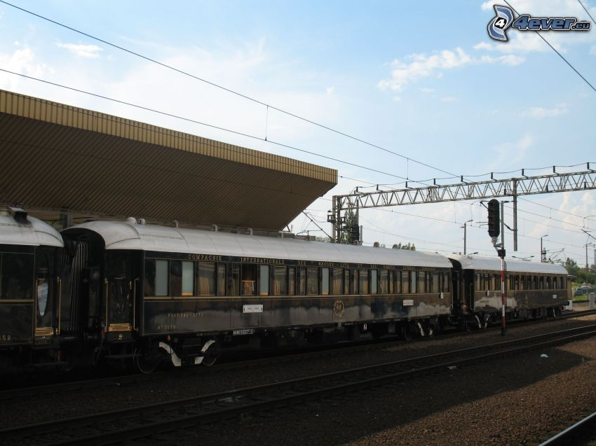 Orient Express, historic rail cars, Pullman, railway station, Kraków