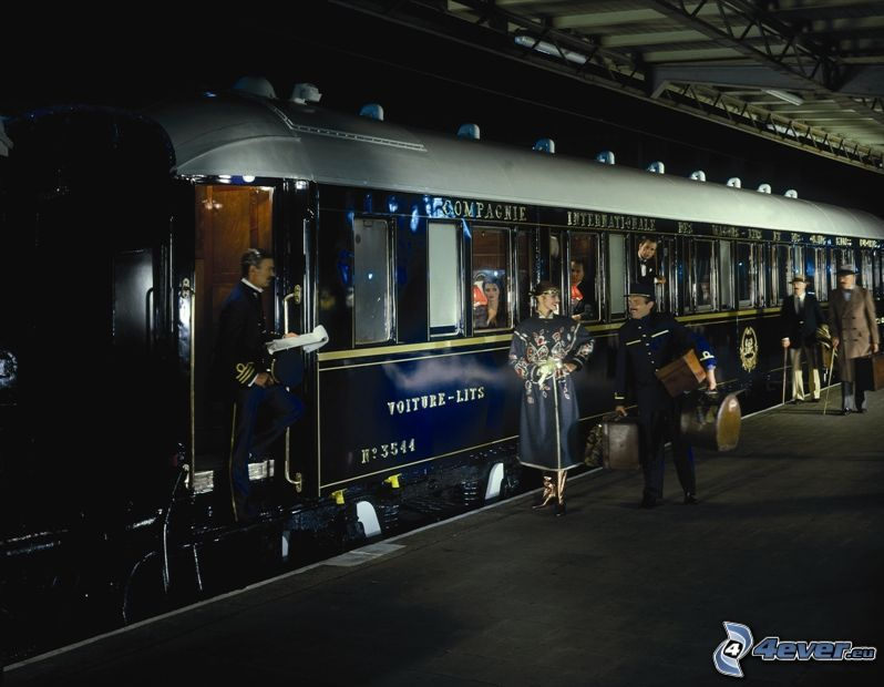 Orient Express, historic rail cars, Pullman, railway station