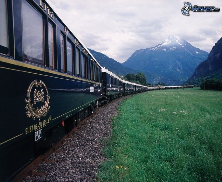 Orient Express, Pullman, train, historic rail cars, mountains