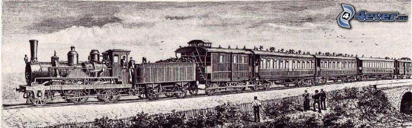 Orient Express, steam train, cartoon
