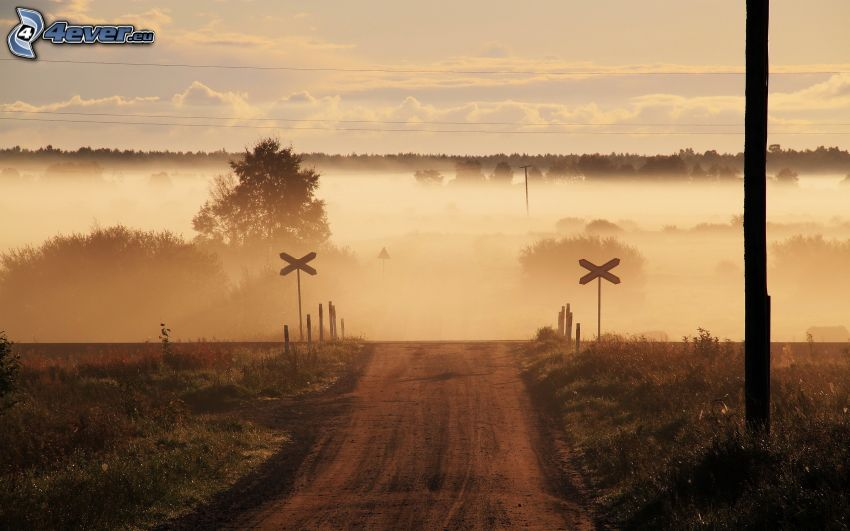 rail crossing, field path, fog