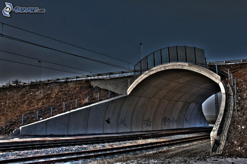rails, bridge, HDR