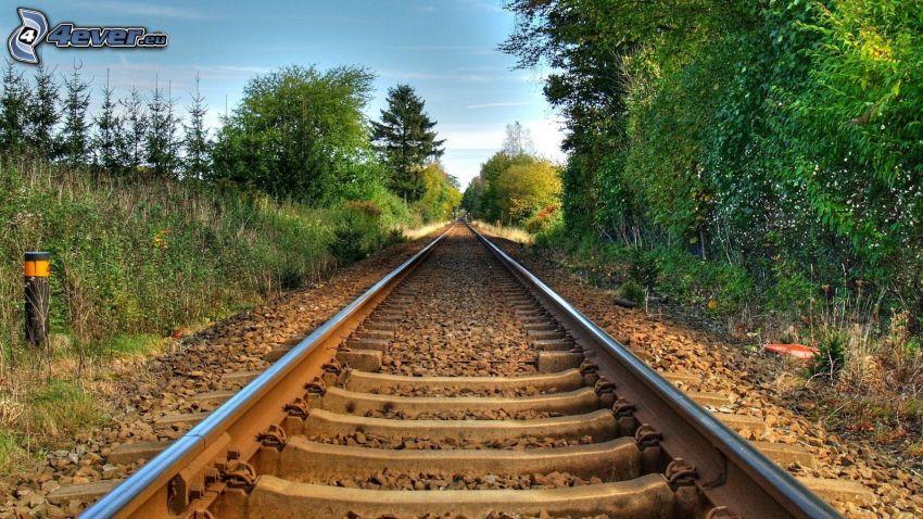 rails, greenery, HDR
