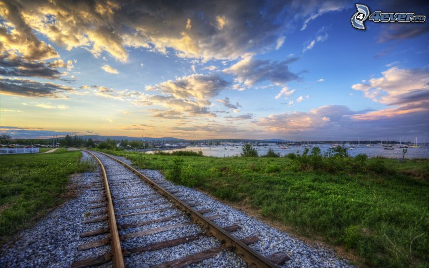 rails, harbor, clouds, HDR