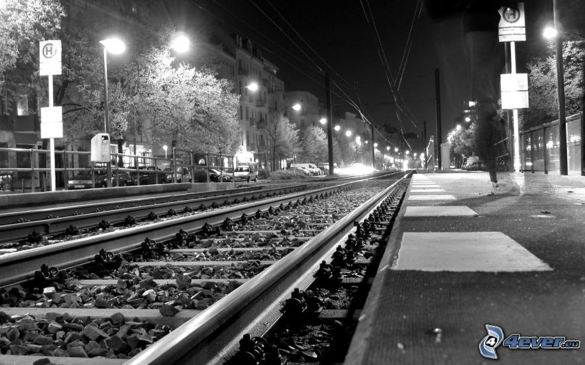 rails, night, night city